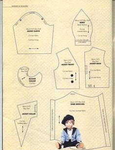 Free Vintage Doll Clothes Pattern 1900's Boys Outfit Sunday Best 2/3