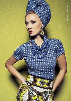 Lena Hoschek: African print skirt, top with matching scarf-headband. African Inspired Fashion, African Dresses For Women, African Print Fashion, Africa Fashion, African Attire, African Wear, Ethnic Fashion, African Women, Fashion Prints
