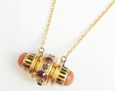Antique Victorian / Etruscan c. 1880 15K Gold, Coral, Rose Cut Diamond, Ruby, Black Enamel Barrel Pendant Necklace - Stickpin Conversion by VULPECULA Jewelry