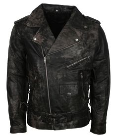 51215ad20dba Mens Classic Vintage Gray Waxed Mens Motorbikers Riders Black Leather Biker  Jacket  MensMotorbikersJacket  Bikers