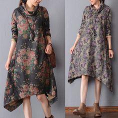 Women cotton floral winter casual loose fitting irregular dress - Tkdress  - 1
