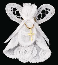 This is an angel made from a wedding dress.  Friend had grandmothers wedding dress that was not in any condition to be used again so she made an angel for each of the grandchildren from the dress.  Great Idea!!