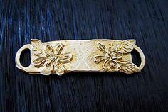 Gold Bronze Handcrafted Artisan Floral Bracelet Link (one)   $9.42   45m length x11w  inscription on back