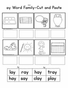 ay Word Family Cut and Paste Sports Day Activities, Word Family Activities, Dyslexia Activities, Interactive Activities, Teaching Reading, Teaching Ideas, First Grade Words, Family Worksheet, Cut And Paste Worksheets