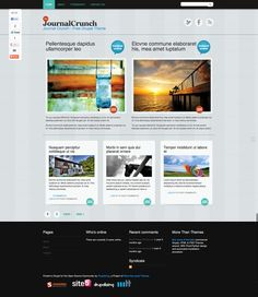 JournalCruch for Drupal by More than (just) Themes is based on the WordPress' JournalCruch theme, which was designed by Site5 for Smashing Magazine and its readers.  JournalCruch has been ported to Drupal and is supported by More than (just) Themes, as part of our ongoing effort to bring quality themes to Drupal community.  For more information visit: http://drupal.org/project/journalcrunch
