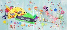 Wir feiern eine Karnevalsparty! Die Karnevalseinladung und Faschingsmasken basteln wir selbst. Außerdem gibt es lustiges Essen und Spielideen für die Partygäste.