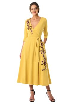 Embroidering can be removed for free Spandex Dress, Cotton Spandex, Jersey Knit Dress, Wrap Dresses, Midi Dresses, Yellow Fashion, Embellished Dress, V Neck Dress, Sexy Outfits