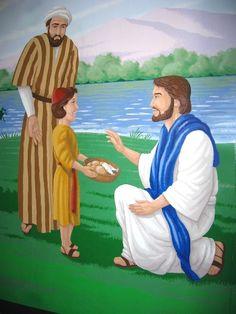 Jezus deelt het brood en de vissen uit