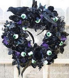 There is still a little time to enter my spooktacular Giveaway. I finished up one of my Eyeball wreaths and it is a big hit w. Creepy Halloween, Holidays Halloween, Halloween Crafts, Happy Halloween, Halloween Decorations, Halloween Wreaths, Halloween Ideas, Dark Christmas, Christmas Music