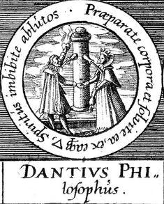 ALQUIMIA VERDADERA: Emblema 31. Dante, filósofoPrepara y disuelve los cuerpos y efectúa con el agua una imbibición de los espíritus lavados.