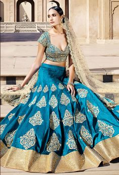 Blue Embroidery Patch Border Work Bangalore Silk A-Line Designer Lehenga Choli. Buy Online Shopping Lehenga Choli At -FIJI Indian Wedding Outfits, Pakistani Outfits, Indian Outfits, Indian Weddings, Bridal Lehenga, Lehenga Choli, Anarkali, Sarees, Lehenga Blouse