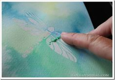 Watercolor resist - uses stencils and rubber cement - super easy! (JS)
