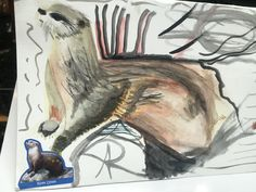 water color and stickers on paper. May Img: U., Alberto Rivera for Parts of How and Allthentic Records. River Otter, Otters, Watercolor, Stickers, Paper, Painting, Art, Pen And Wash, Art Background