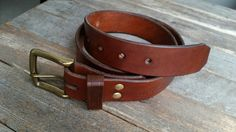Handcrafted 1.5 inch leather belt built to last with thick full grain English Brdle leather. It will shape to you as it ages nicely. This craft belt is hand cut, hand dyed, and is hand burnished.