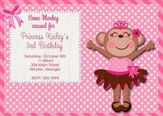 monkey princess   Monkey Invitation Princess Monkey-Digital File
