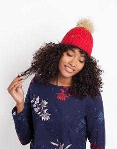 916d0daa Joules UK POP-A-POM Womens Bobble Hat Red Joules Uk, Bobble Hats