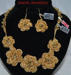 Gold Crochet Flower Set of Necklace and  Earrings £46