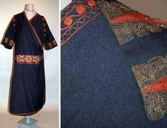 Worth Embroidered Wrap Chemise Dress   1920s   Blue wool gabardine, embroidered with folkloric pattern bands worked in tambour stitch
