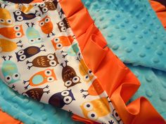 Brown, Orange & Blue Night Owl Satin