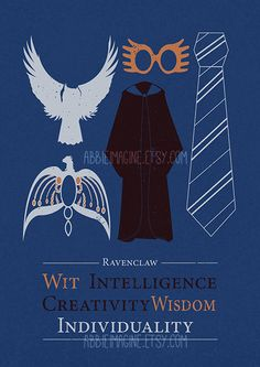 """""""Or yet in wise old Ravenclaw, If you've a ready mind, Where those of wit and learning, Will always find their kind."""" Minimalist Hogwarts House Poster: Ravenclaw- (The tie features the original book colour scheme- the movie tie colour scheme is. Poster Harry Potter, Theme Harry Potter, Harry Potter Houses, Harry Potter Books, Harry Potter Love, Harry Potter Universal, Harry Potter World, Hogwarts Houses, Ravenclaw"""