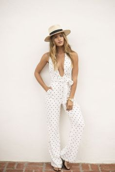spotted jumpsuit.