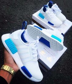 Adidas Women Shoes - Adidas NMD White Blue Glow - We reveal the news in sneakers for spring summer 2017 Adidas Outfit, Adidas Shoes Women, Sneakers Women, Blue Adidas Shoes, Gold Adidas, Women Nike, Sneakers Fashion, Fashion Shoes, Shoes Sneakers