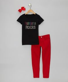 Take a look at this Black 'Kindergarten Rocks' Short-Sleeve Tee Set - Girls on zulily today!
