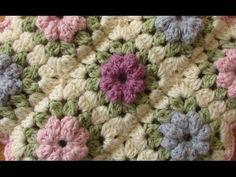 EASY crochet pretty puff stitch flower blanket - flower granny square tutorial - YouTube ༺✿Teresa Restegui http://www.pinterest.com/teretegui/✿༻