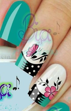 bellas                                                                                                                                                                                 Más Great Nails, Fabulous Nails, Gorgeous Nails, Fancy Nails, Crazy Nails, Nail Art Designs, Mo S, Flower Nails, Creative Nails