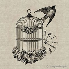 French Vintage Bird Cage and Swallow. Image No.62, Digital Download Iron-On Transfer to Fabric (burlap, linen) Paper Prints (cards, tags)