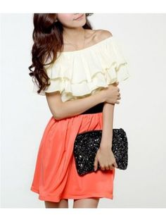 Flouncing Round Neck Sleeveless Color Block Chiffon Red Dress