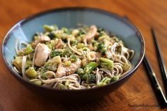 Soba with Sesame Sauce. Soba noodles and chicken with a tangy sesame sauce. Asian Recipes, Healthy Recipes, Yummy Recipes, Ethnic Recipes, Asian Foods, Dinner Recipes, Yummy Food, Asian Cooking, Kitchens
