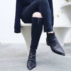 Navy knits, super dark denim & Acne Jensen Boots.