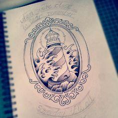 Sunday morning sketching :) #lighthouse #tattoo #design #drawing #sketch #progress