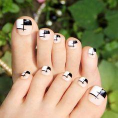 Uñas Decoradas Para Pies Foot Nails Uñas Color Blanco Negro Lazo