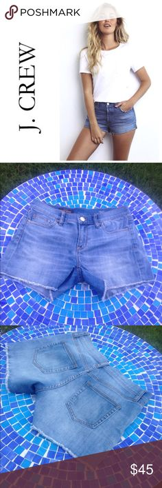 """LIKE NEW J. Crew Indigo denim cut-off frayed short These J. Crew Indigo Jean shorts are made from the prettiest denim on the planet!  Featuring a 98% cotton & 2% elastane blend, these beauties have a perfect stretch to fit & feel amazing!  They are faded in just the right places in a fabulous medium blue for anytime wear!  Size 26.  Waist measures 14.5"""" lying flat with an 8"""" rise & 4"""" inseam.  Do not miss them!  Retail at $79 & worth every penny!  Barely worn, in perfect condition!  No…"""