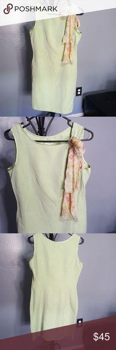 Vtg Laura Ashley linen sheath dress with scarf. 8 Green linen rayon mix sheath dress. With floral scarf. Lined underneath, has hidden side zipper. Laura Ashley Dresses