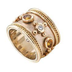Wide Yellow Sapphire Diamond Gold Band Ring 2