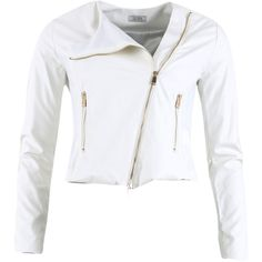 Fracomina Marianna Jacket ($130) ❤ liked on Polyvore featuring outerwear, jackets, white jacket, slim jacket, vegan jacket, fracomina and vegan leather jacket