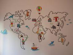 Murales mapamundi para habitaciones infantiles World Map Art, Montessori Toddler, Flower Template, Child Day, Travel With Kids, Classroom Decor, Paper Flowers, Baby Room, Baby Kids