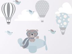 Bear-flying-airplane-baby-blue-little-balloons-copy-copy.jpg Bear-flying-airplane-baby-blue-little-balloons-copy-copy. Balloon Wall, Hot Air Balloon, Balloons, Kids Wall Decals, Nursery Wall Decals, Baby Boy Rooms, Baby Boy Nurseries, Kids Room Paint, Boys Room Decor