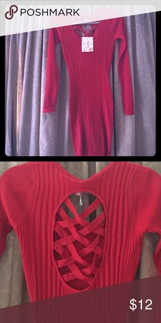 Red sweater dress Sexy red ribbed sweater dress with lattice detail on back Derek Heart Dresses Long Sleeve