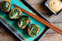 Choosing Raw - vegan and raw recipes | Nori Rolls with Miso Sweet Potato Mash, Kimchee, and Massaged Kale