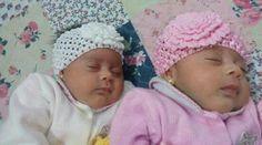 Faixa de croche Baby Sara e Ester