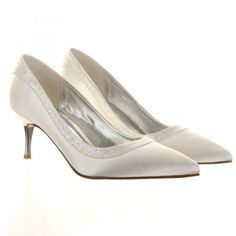 9ac6e791a44 Satin court shoe with metallic heel and dusted crystal. Perfect for any  bride to wear