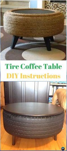 DIY Recycled Tire Coffee Table Instructions - DIY Old Tire Furniture Ideas&Tutorials