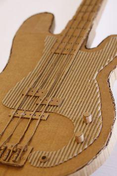 How to Make a Guitar for Your Rockstar - Handmade Charlotte Cardboard Guitar, Cardboard Model, Cardboard Sculpture, Cardboard Paper, Cardboard Crafts, Paper Clay, Sculpture Projects, Sculpture Art, Art Projects