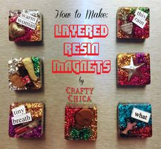 gießharz Layered Resin Magnets by Crafty Chica Buying Petite Clothing Made Easy All you girls Diy Resin Magnets, Diy Resin Crafts, Diy Arts And Crafts, Crafts To Sell, Paper Crafts, Ice Resin, Resin Art, Mason Jar Crafts, Mason Jar Diy