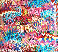 """ORIGINAL Love and Peace Spanish paz amor 57"""" x 52"""" contemporay art signed large size painting pop art colorful street art graffiti tag Chris Riggs. This painting is 57 x 52 inches with 2"""" on the sides. This is an original painting made by Chris Riggs for mayor. The painting is signed and dated it comes with a certificate of authenticity. Great for a home, office, gallery, museum, gift, or as an investment. His paintings and sculptures are in museums, galleries, and private collections in..."""