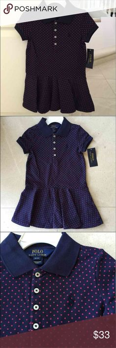 "Ralph Lauren little girl 3T (also 2T) 🌺 THIS IS NOT FROM FACTORY OUTLET! 🌺💋🌺💋 Inspired by Ralph Lauren's iconic polo shirt, this cotton mesh dress is great for every day of the week as well as special occasions. 🌺🌺🌺🌸🌸🌸 • Four-button placket • Ribbed polo collar • Short sleeves with ribbed cuffs • Drop-waist silhouette • Circular-cut flounce skirt • Signature embroidered pony at the left chest • 98% cotton, 2% elastane  Size 3T has about 19 1/2"" front body length. 2T also…"